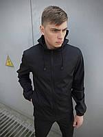 Куртка мужскаяSoft Shell с капюшоном + ключница в подарок. Цвет: черный.