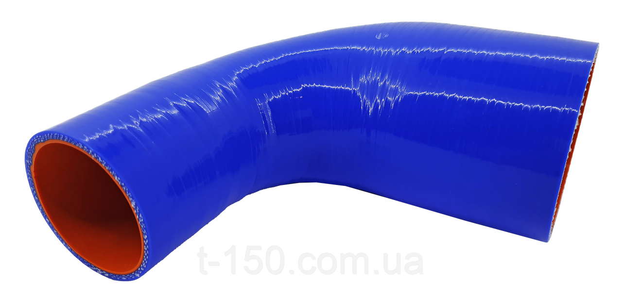Патрубок воздушного фильтра ЗИЛ-5301 (маслостойкий, силикон) 150х150мм, угол 90*, d=60/65 толщ=4мм