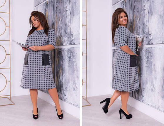 """Стильное женское платье в клетку с карманами ткань """"Трикотаж с добавлением Кашемира"""" 52, 56, 62 размер батал, фото 2"""