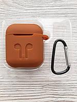 Чехол для Airpods коричневый, фото 1