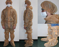 Одноразовый Защитный комплект (комбинезон, шапка, бахилы) 10 штук