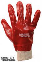 """Перчатки кислотостойкие, х/б трикотаж, полное ПВХ покрытие, вязаный манжет (красные), 10.5"""",123-127 г"""