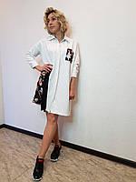 Белое платье рубашка прямое с рукавом 3/4 и принтом Say