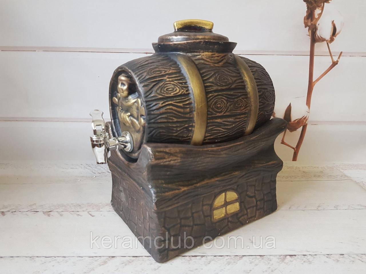 """Керамический бочонок на подставке """"Шубин золото"""" V 3 л"""