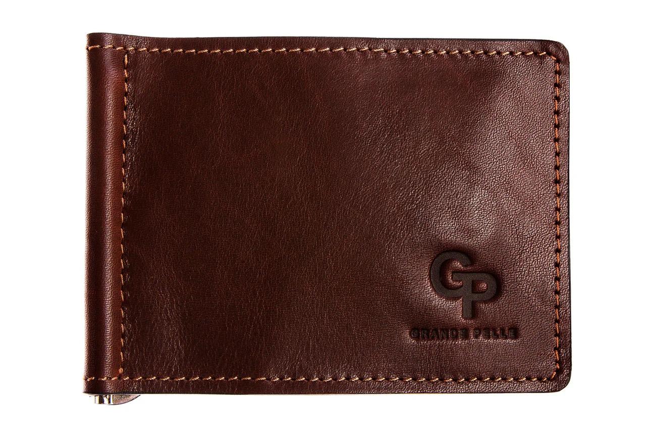 Зажим для купюр кожаный Grande Pelle GP111623 коньяк (12228)