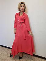 Платье-рубашка свободного кроя с рукавами три четверти и нагрудными карманами коралловое Setre