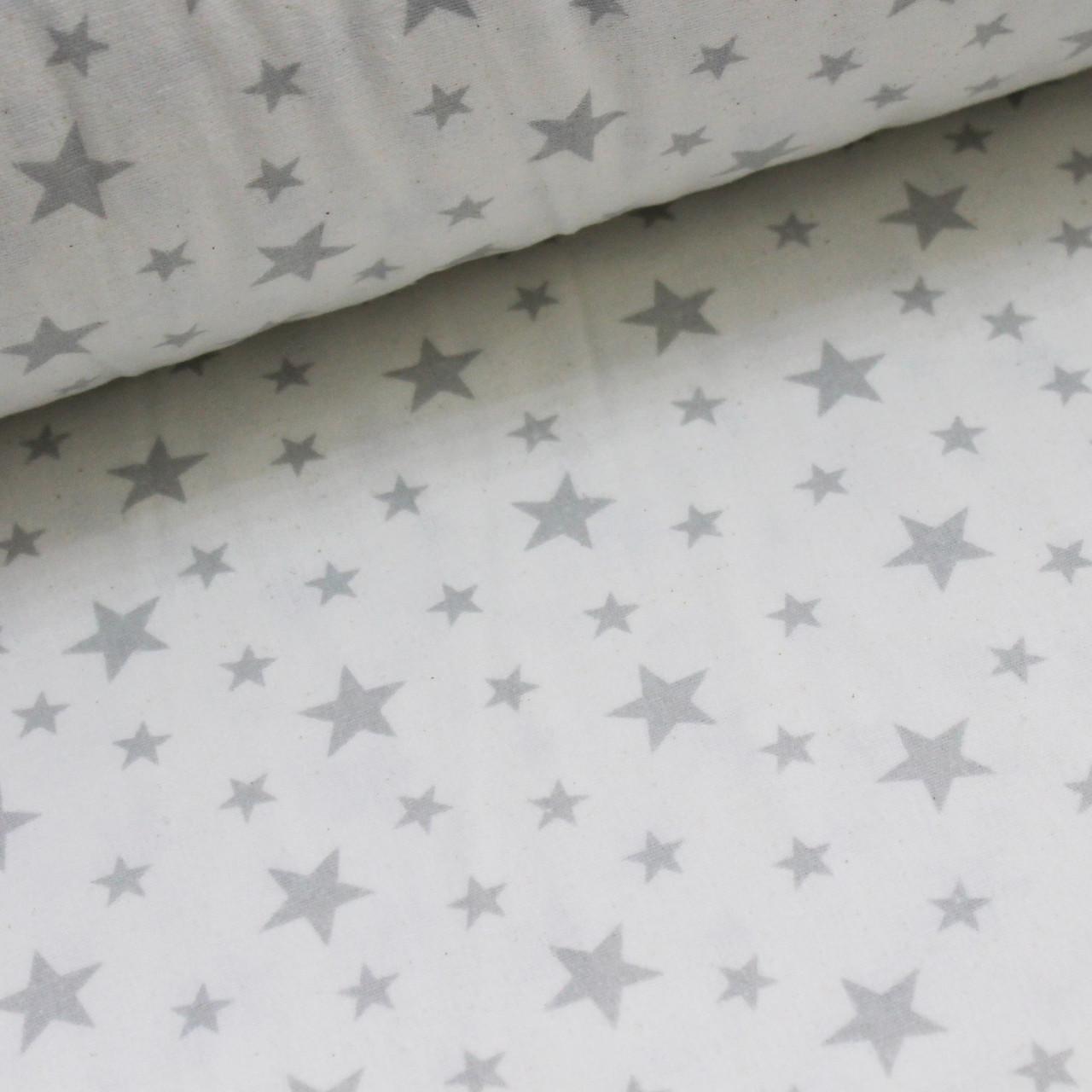 Фланелевая ткань (ТУРЦИЯ шир. 2,4) серый звездопад на белом ОТРЕЗ (0,4*2,4)