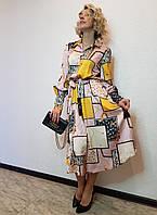 Платье-рубашка с длинными рукавами и поясом Say
