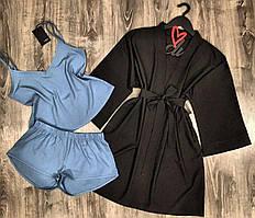 Набор халат+пижама( майка и шорты), летняя домашняя одежда.