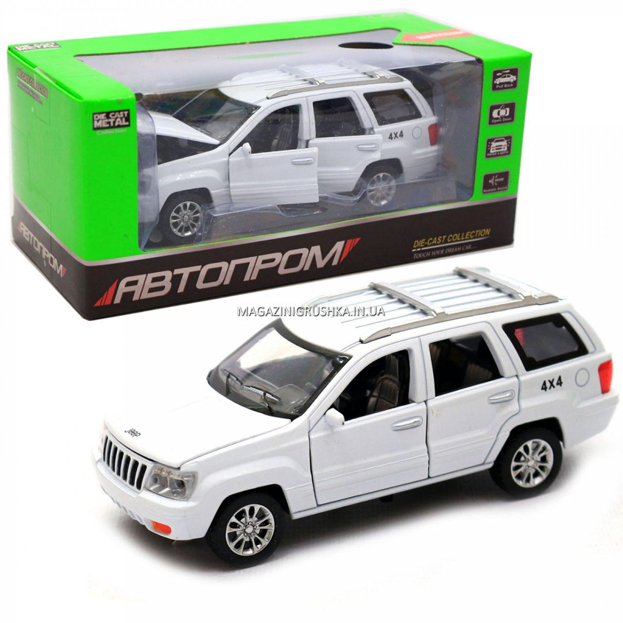 Машинка ігрова автопром «Jeep» (джип) метал, 14 см, білий (світло, звук, двері відкриваються) 7638