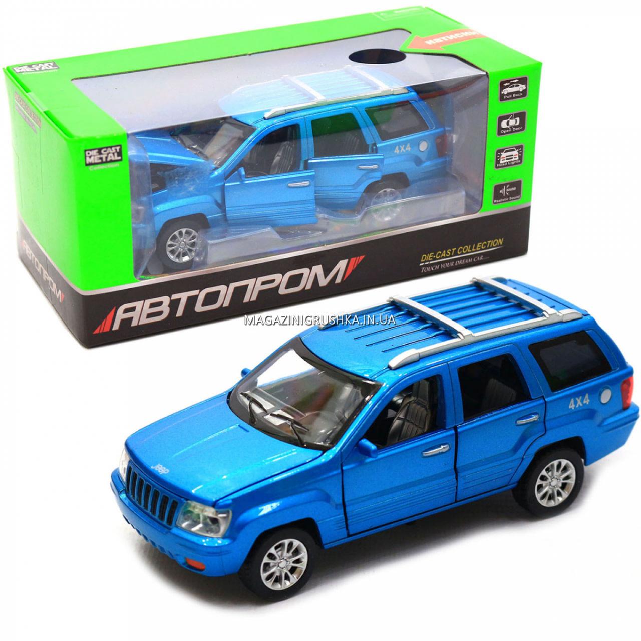 Машинка игровая автопром «Jeep» (джип) металл, 14 см, синий (свет, звук, двери открываются) 7638