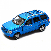 Машинка ігрова автопром «Jeep» (джип) метал, 14 см, синій (світло, звук, двері відкриваються) 7638, фото 3