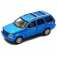 Машинка игровая автопром «Jeep» (джип) металл, 14 см, синий (свет, звук, двери открываются) 7638, фото 3