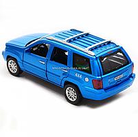 Машинка игровая автопром «Jeep» (джип) металл, 14 см, синий (свет, звук, двери открываются) 7638, фото 4