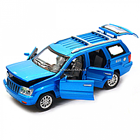 Машинка игровая автопром «Jeep» (джип) металл, 14 см, синий (свет, звук, двери открываются) 7638, фото 5