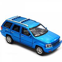 Машинка игровая автопром «Jeep» (джип) металл, 14 см, синий (свет, звук, двери открываются) 7638, фото 9