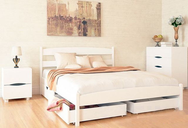 Двуспальная кровать МИКС-Мебель Ликерия без изножья с ящиками 140*200 Белый (69891)