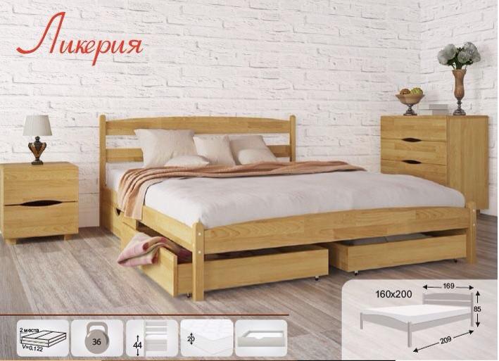 Двуспальная кровать МИКС-Мебель Ликерия без изножья с ящиками 180*200 Бук (69894)