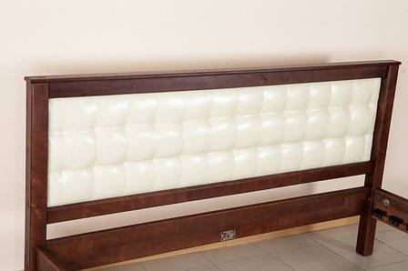 Двоспальне ліжко МІКС-Меблі Карина з м'яким узголів'ям 180*190 Темний Горіх (70060), фото 2