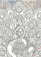 """Живопись по контуру. Дзен Антистресс раскраска. """"Грациозный павлин"""" (палитра янтарь) 18*25 DZ029, фото 1"""