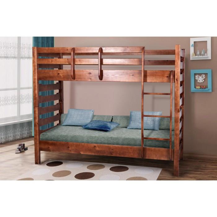 Односпальная кровать МИКС-Мебель двухъярусная Троя 80*200 Тёмный орех (70789)