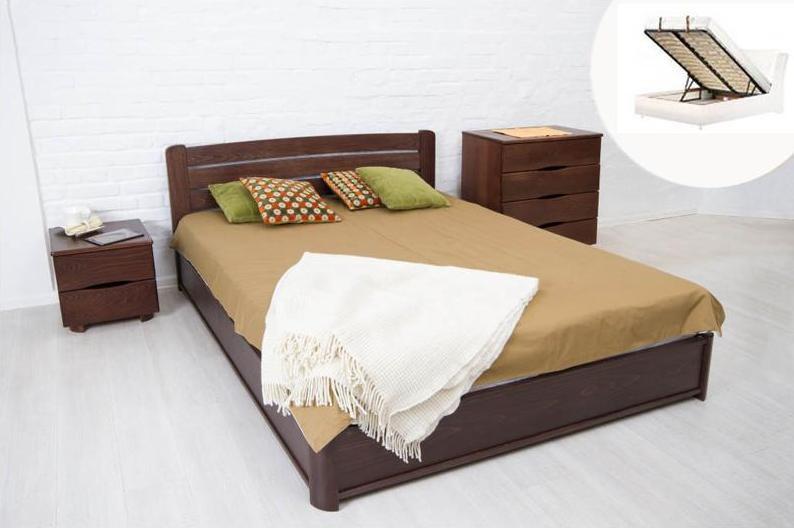 Двуспальная кровать МИКС-Мебель София 180*200 Тёмный орех с подъемным механизмом (70949)