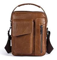 Сумка мужская гладкая Vintage 14707 Cветло-коричневая, фото 1