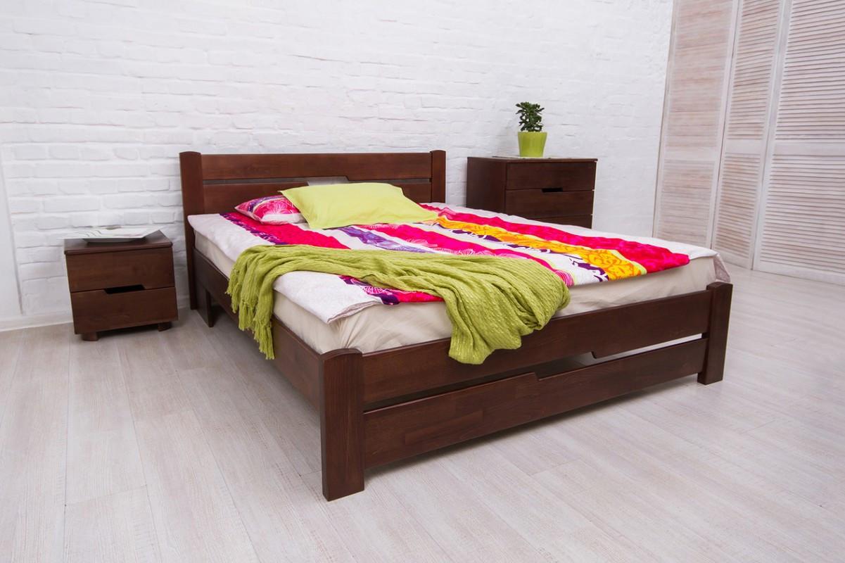 Односпальне ліжко МІКС-Меблі Айріс з изножьям 90*200 Темний горіх (72166)