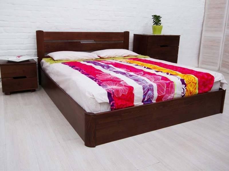 Двоспальне ліжко МІКС-Меблі Айріс Люкс з підйомним механізмом 120*190 Темний горіх (72181)