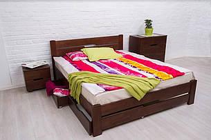 Односпальне ліжко МІКС-Меблі Айріс з ящиками 140*200 Темний горіх (72188), фото 2