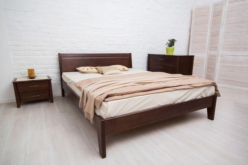 Двуспальная кровать МИКС-Мебель Сити без изножья Филёнка 160*200 Тёмный орех  (72223)