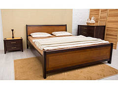 Двоспальне ліжко МІКС-Меблі Сіті з изножьям Інтарсія 160*190 Светый горіх (72232)