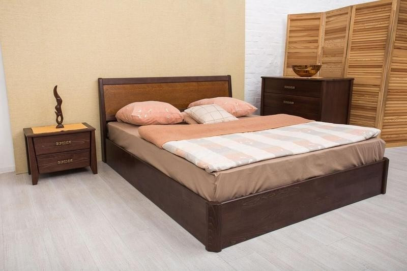 Двуспальная кровать МИКС-Мебель Сити Люкс с подъемным механизмом Интарсия 160*190 Светлый орех  (72244)