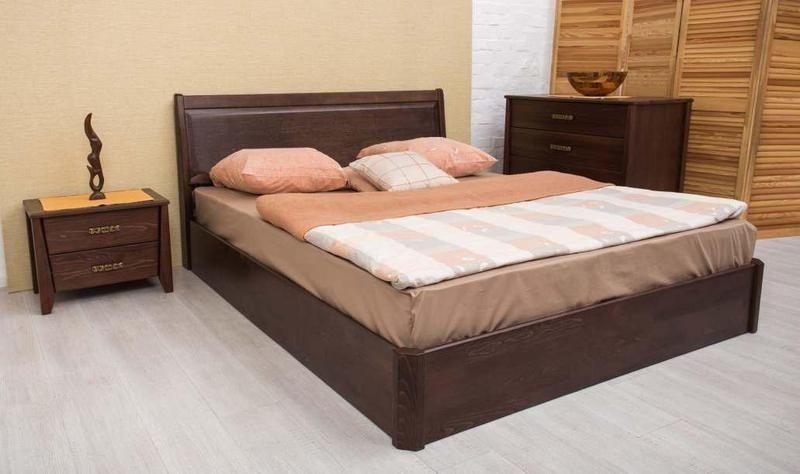 Двоспальне ліжко МІКС-Меблі Сіті Люкс з підйомним механізмом Фільонка 180*190 Темний горіх (72251)