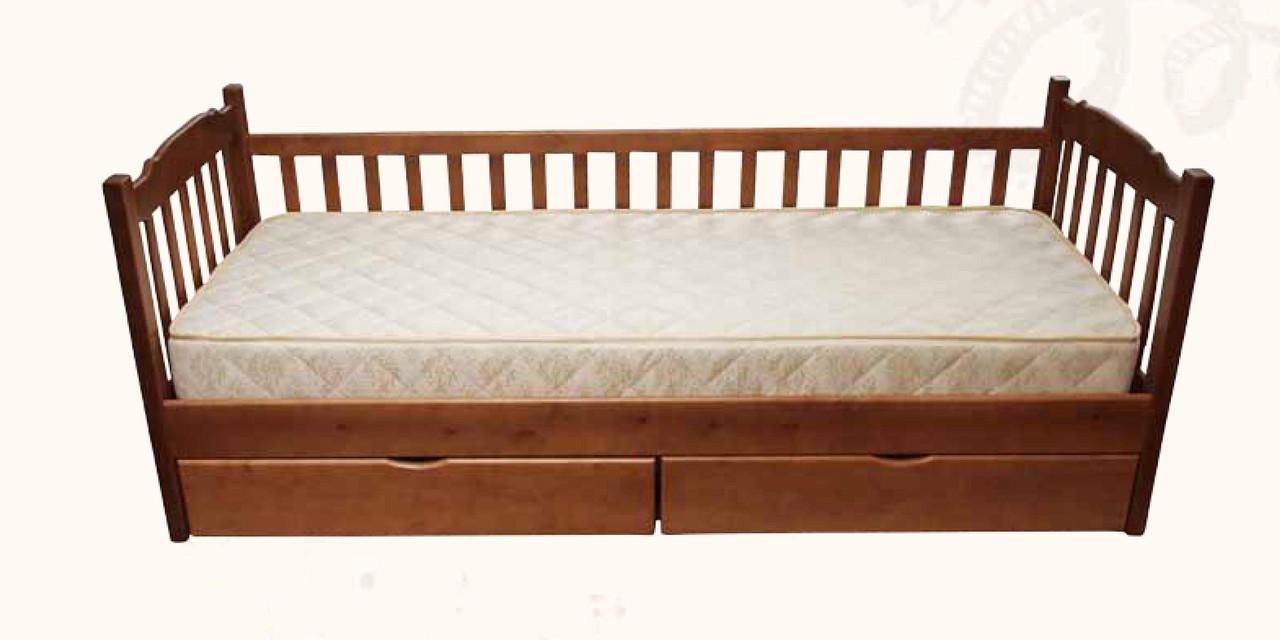 Односпальне ліжко МІКС-Меблі Юніор 90*200 Темний горіх (72134)