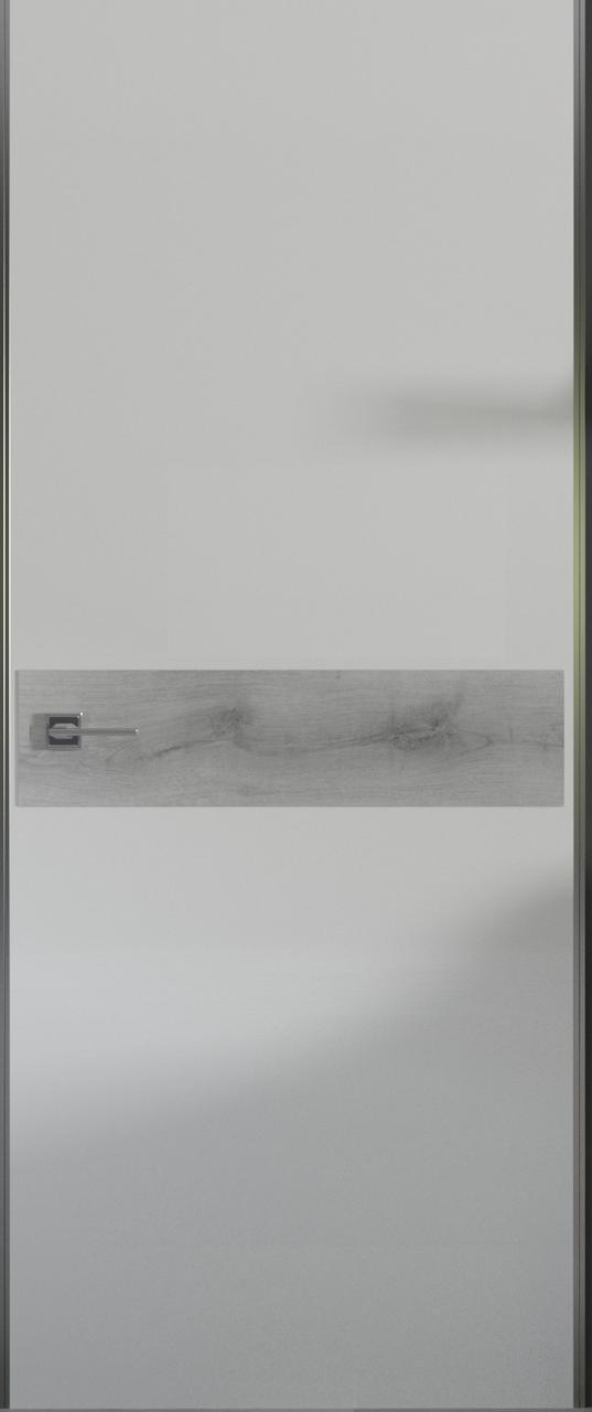 Двери BERTA GL- полотно+коробка+2к-та наличников+добор 77мм, белый мат со вставкой ламината клиента,серия LOFT