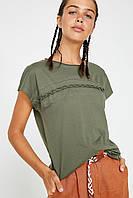 Летняя женская футболка цвет хаки стрейч коттон KOTON Турция 13052