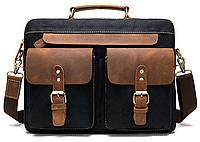 Сумка-портфель мужская текстильная с кожаными вставками Vintage 20002 Черная