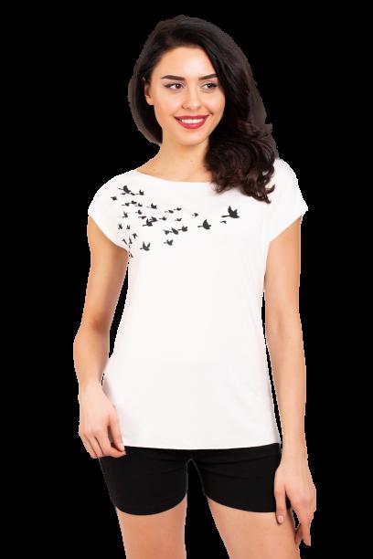 Женская белая футболка с принтом птиц Zap  0242S-1