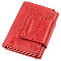 Строгое портмоне женское из гладкой кожи GRANDE PELLE 11153 Красное