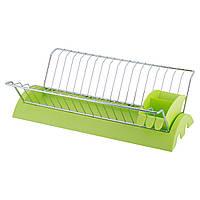 Сушилка для посуды 41,5*26*11,5 см из хромированной стали с поддоном (зеленый)