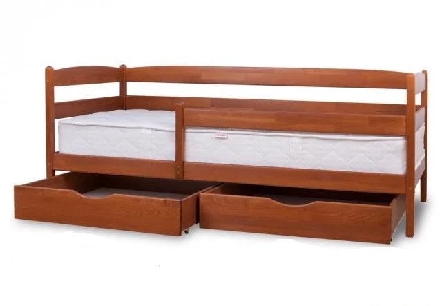 Кровать Ева 80 х 190 см + ящики + боковая планка, (светлый орех)
