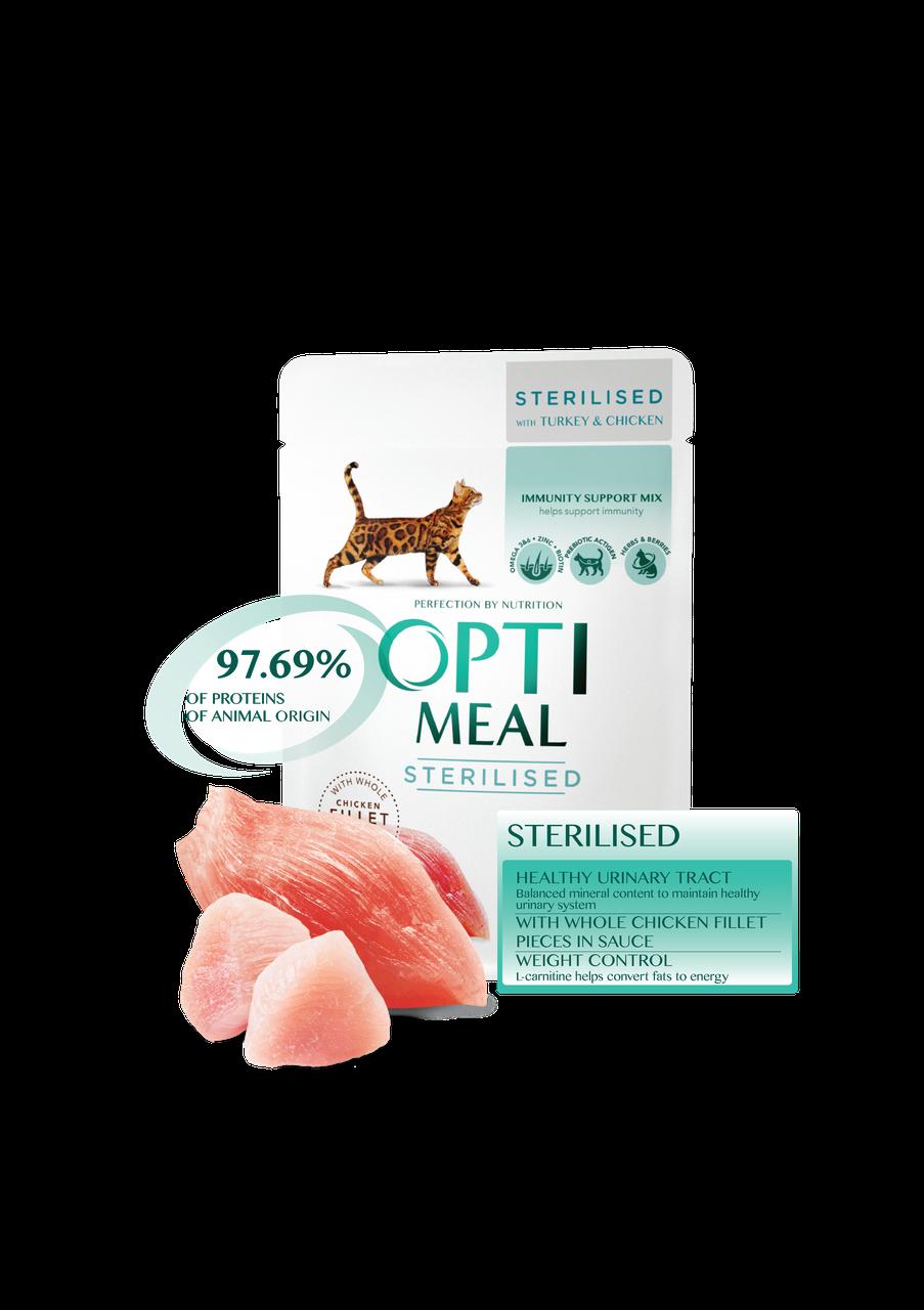 Консервированный корм для стерилизованных кошек с Индейкой и куриным филе в соусе 85 г Optimeal