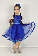 Нарядное платье с асимметричной юбкой и бусинами 4-10 лет