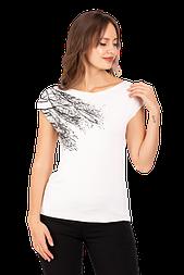 Жіноча футболка біла з рослинним узором Zap біла 0241S-1