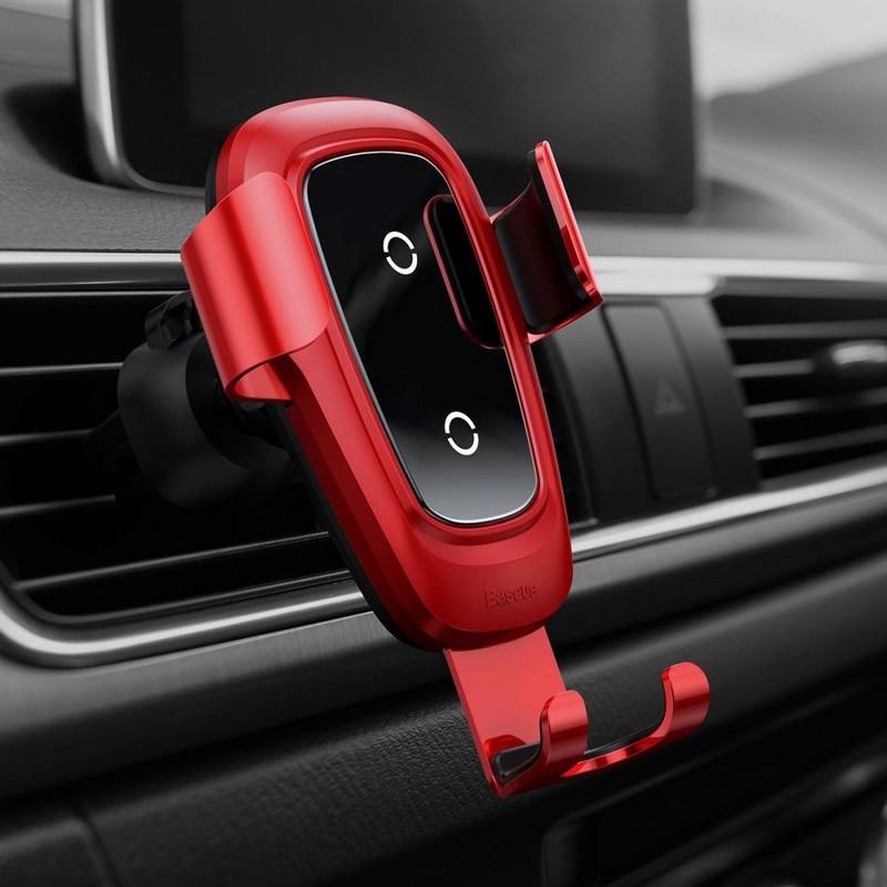 Автотримач зарядний пристрій Baseus Metal Gravity Car Mount (Air Outlet Version) 1.7 A QC3.0 червоний (17217)