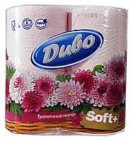 Туалетная бумага Диво Soft +розовая (2 слоя, 150 листов) - 4 рулона