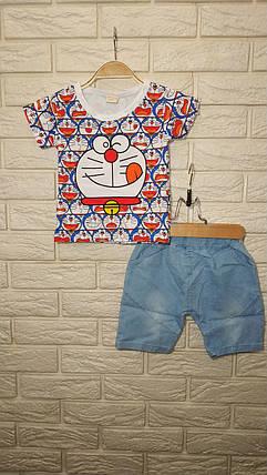 Летний костюм на мальчика  футбока +шорты 1-4 года  с рисунком Котик бело-синий, фото 2
