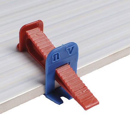СВП система выравнивания укладки плитки noVa со швом 1мм (клин- 200шт/ зажим - 500 шт), фото 2