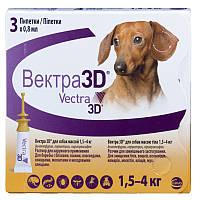 Краплі Vectra 3D (від бліх, кліщів і комах) для собак вагою 1,5-4кг